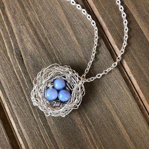 Jewelry - Handmade Wire Crochet Blue Glass Bird Nest Pendant